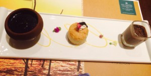 from L to R: Kiri pani, curd topped with jaggery treacle, the semolina-made Love Cake and Watalappam