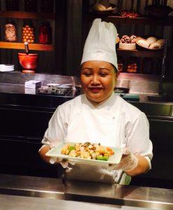 The petite chef Wimon from Grand Hyatt Mumbai showed us two Thai recipes