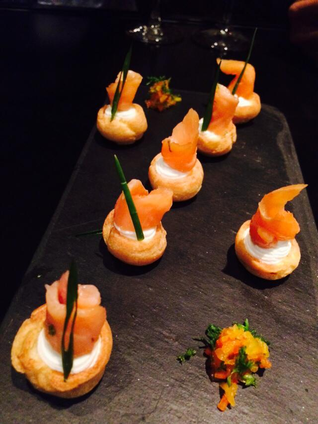 smoked ocean salmon in a choux pastry